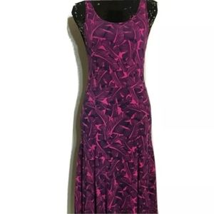 NWT Banana Republic Pink and Navy Palm Leaf Dress